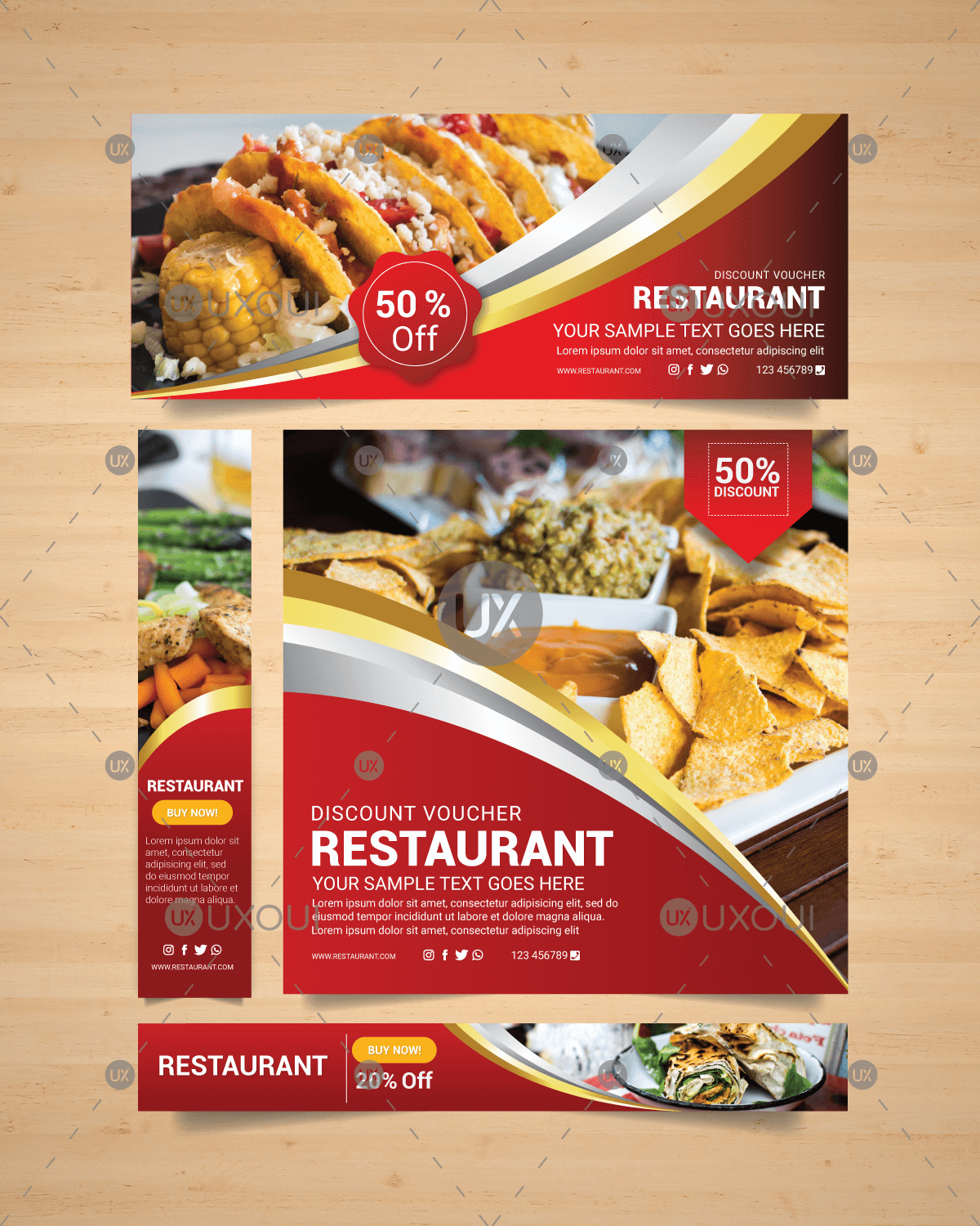 Healthy food restaurant banners design collection with