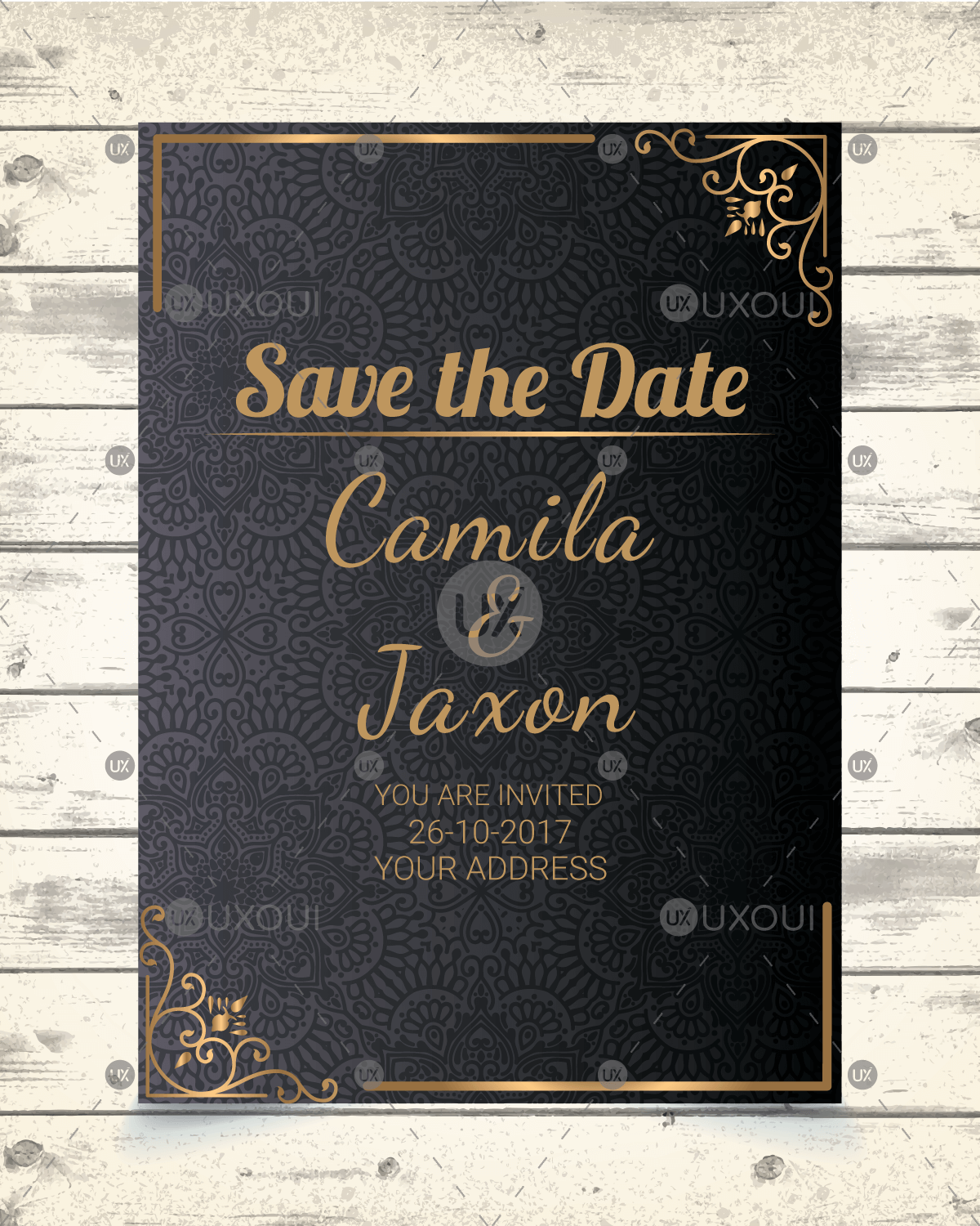 Save The Date Invitation Card Design With Luxury Ornamental Mandala Background In Gold Color Uxoui