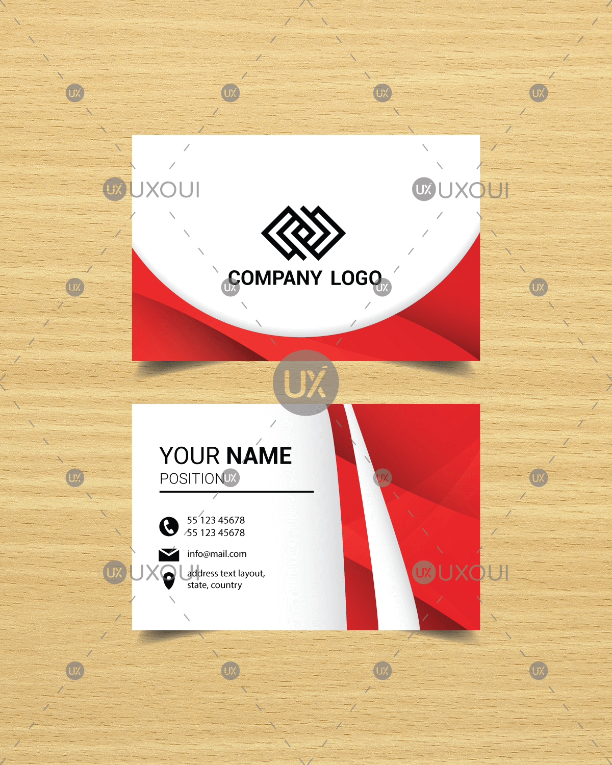 Free Modern Red Abstract Business Card Design Template Design Vector