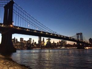 Brooklyn Bridge and East River at dusk from Brooklyn