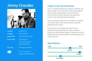 Bio of Jimmy Chandler in a persona format