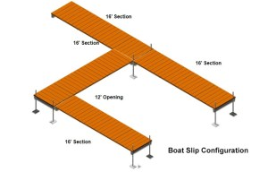 16' Sections | Roll in Float Boat Slip Configurations | VDock