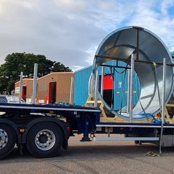 """Fully Welded 126"""" to 90"""" reducers being loaded onto low loader for transport to Ireland"""