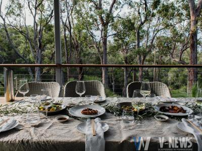 table served for guests on terrace