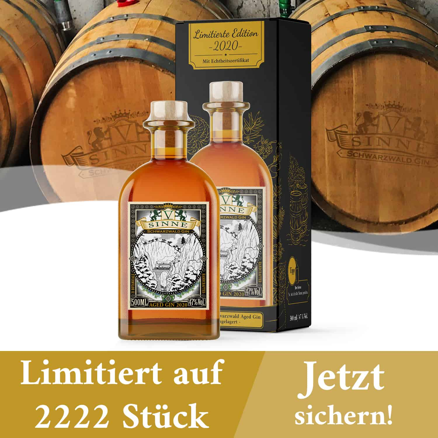 V-SINNE Aged Gin 2020 Barrique Fass Maulbeerbaum