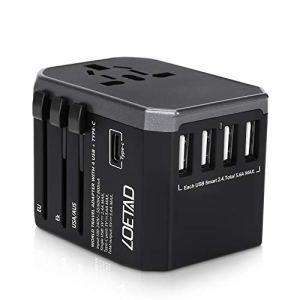 LOETAD Adattatore Universale da Viaggio con 4 Porte USB 3.0 e 1 Interfaccia Type-C Adatto per Apparecchiature da 2000 W per L\utilizzo Negli Stati Uniti, Regno Unito, Europa, Australia, Asia, ecc.