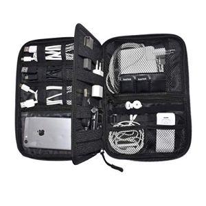 Organizzatore per cavi da viaggio di Nomalite   Custodia nera per cavi, caricabatteria e accessori elettronici con 5 tasche, 20 elastici & 3 aperture per SIM card/USB. Ideale per escursioni/lavoro.
