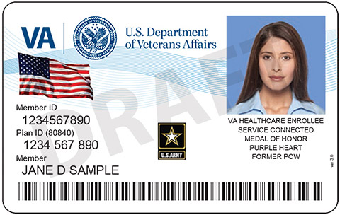 Example of the front of an ID card, showing the VA logo, a flag, portrait of a woman, Army insignia and Text: Member ID 1234567890,Plan ID (80840) 1234567890, Member Jane D Sample, VA healthcare enrollee, service connected, medal of honor, purple heart,former POW