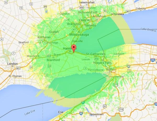 VE3UHM Coverage map Ontario DMR Hamilton DMR-MARC ham radio amateur