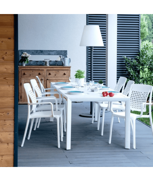 table de jardin sunset grosfillex 200x90 cm en aluminium