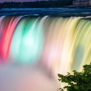 When it gets dark Niagara falls are lit up by lights from across the river.  It took some timing but I caught three colors in this photo.