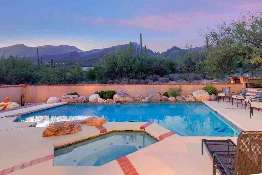 Placita Del Pajaro Backyard pool with Catalina Mountain