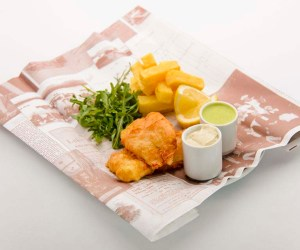 Traditional Fish 'n' Chips on Historic paper