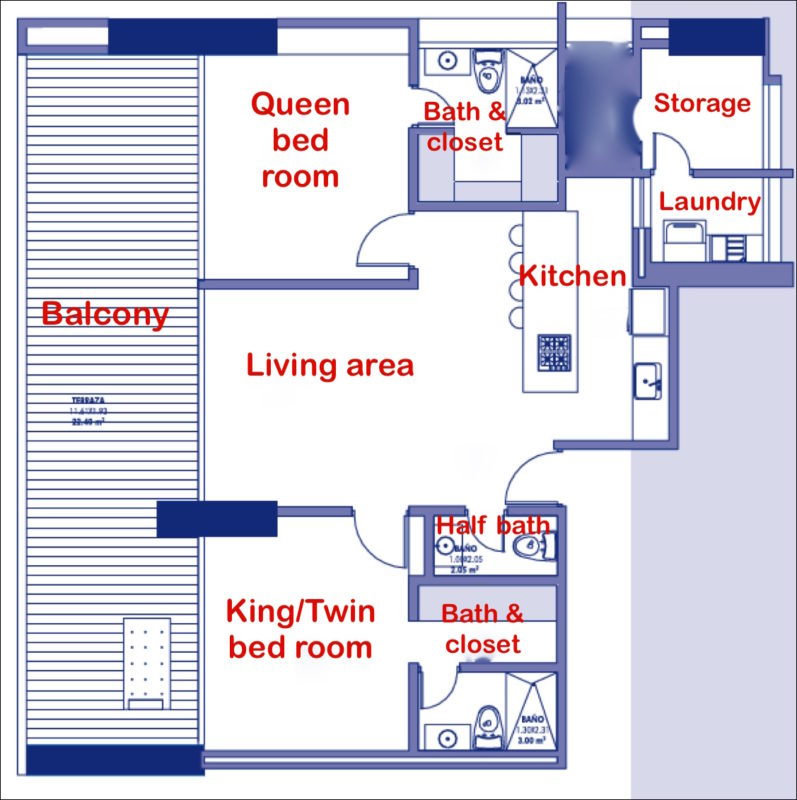 2 bed-2.5 bath apt floorplan