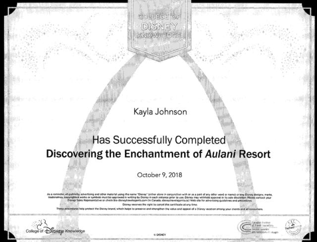 Kayla Johnson Aulani Resort Cert