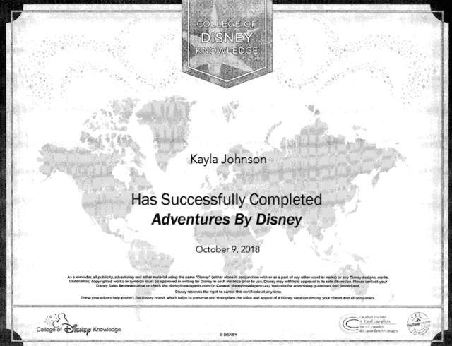 Kayla Johnson Adventures by Disney Cert