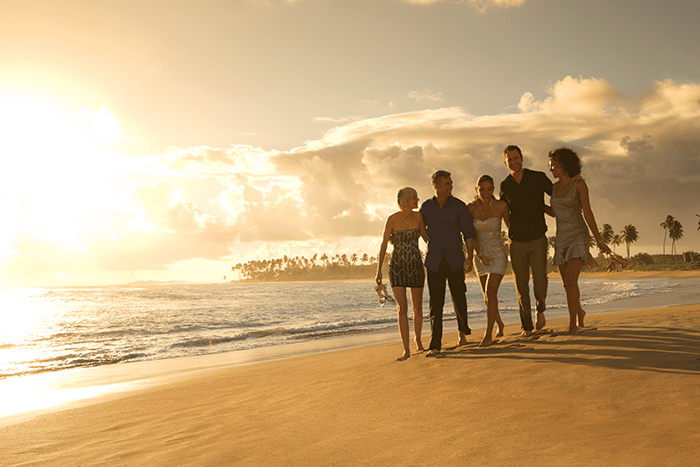 Stroll on the beach with friends