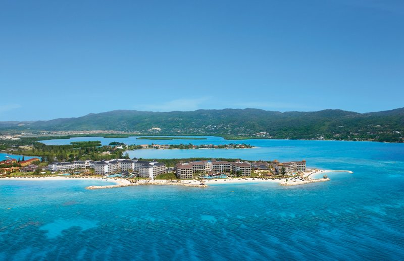 Aerial of Secrets St. James Montego Bay, situated to the left of Secrets Wild Orchid.