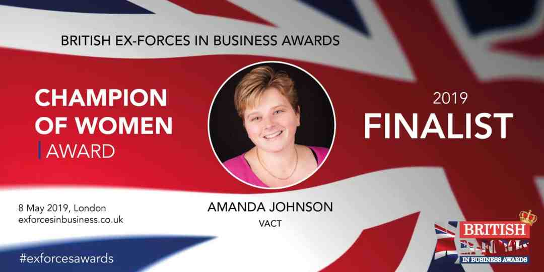 Champion of Women Finalist in the British Ex-Forces Business AwardsOn 1 April 2019, I learnt that I was a finalist in the British Ex-Forces in Business Awards - the winners of the awards themselves will be announced on 8 May 19; when what can only be described as a strong mix of military and business leaders will descend on London for the second-ever British Ex-Forces In Business Awards.