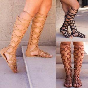 Roman Gladiator Bandage Sandals Very Beauty Women Knee High flat Shoes Girls Summer