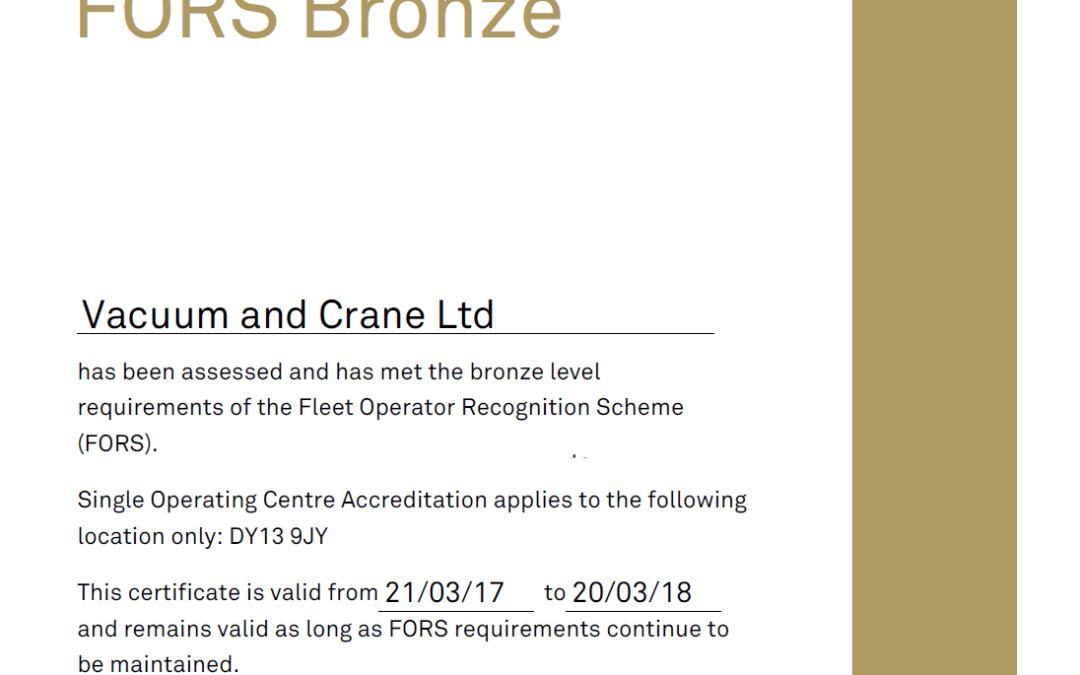 Vacuum & Crane achieve bronze FORS accreditation