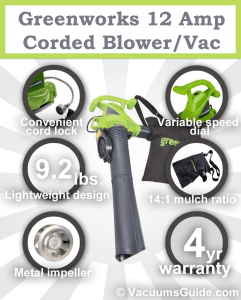 Garden cleaning? Try the Greenworks 12 Amp Corded Blower/Vac