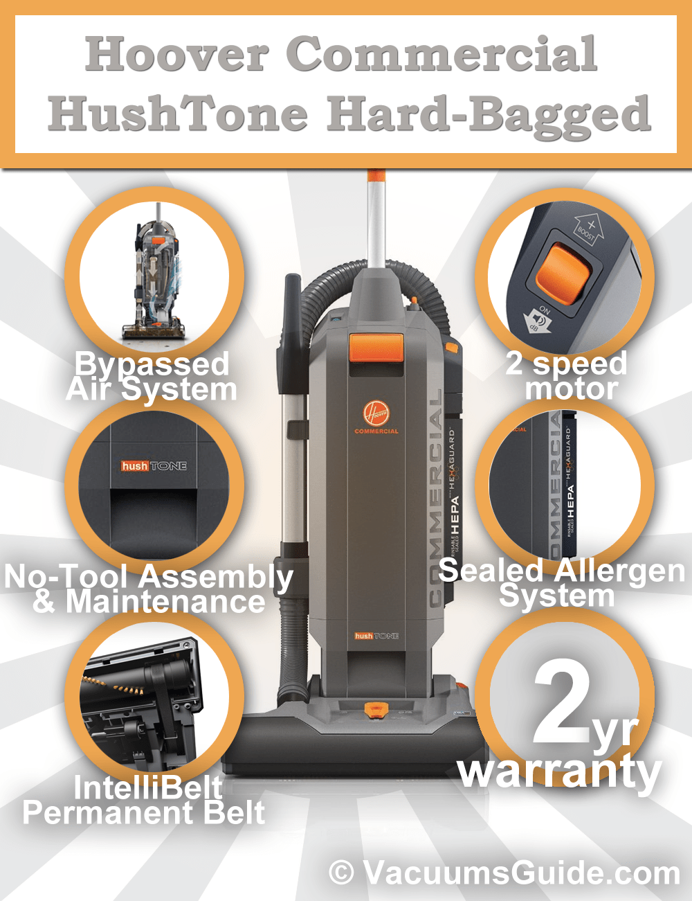 Hoover Commercial HushTone Hard-Bagged features