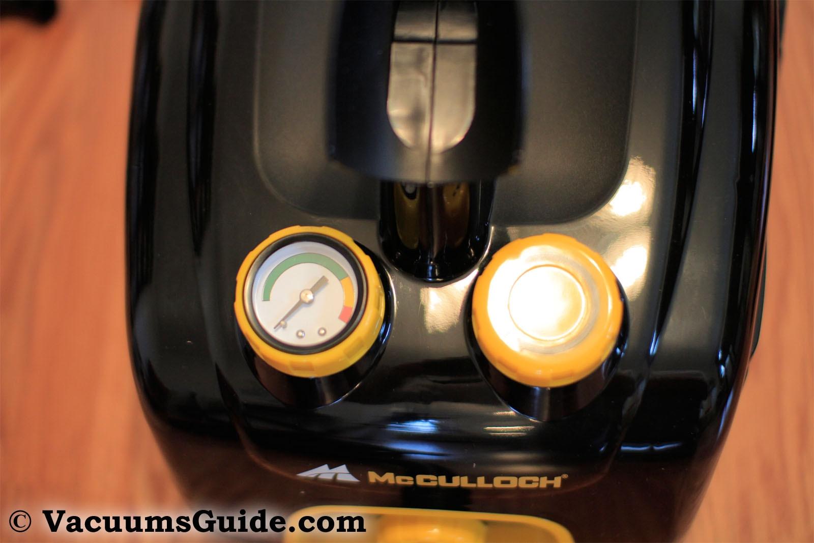 McCulloch MC1375 steam control and pressure indicator