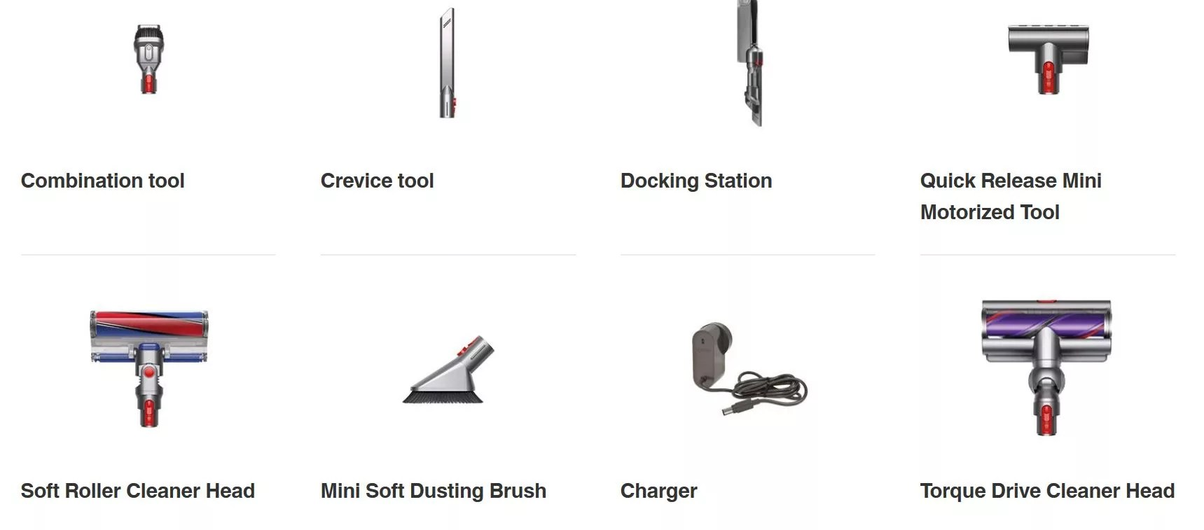Dyson V10 Absolute accessories