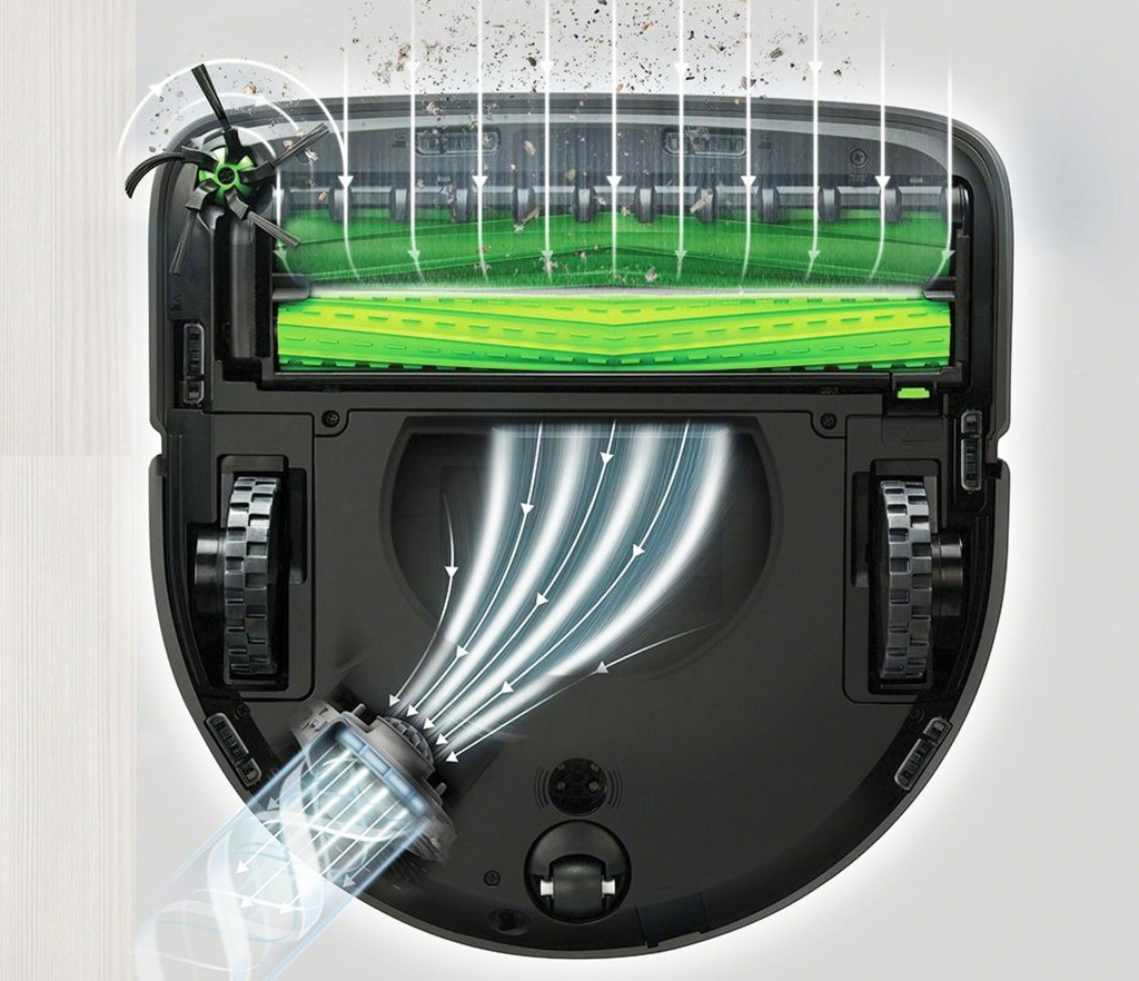 Airflow in the multi-floor brush roll bin, through the high performance filter and exiting the automatic dirt disposal port