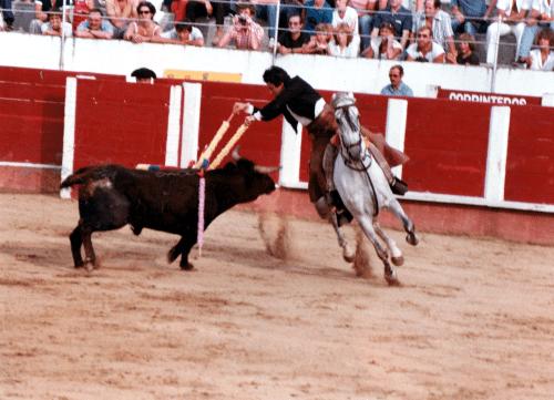 El rejoneador catalán Quirze Elías en los ruedos gerundenses