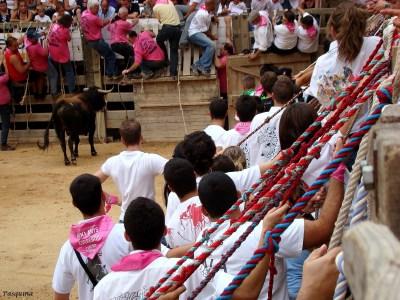 Mozos agarrados a las cuerdas en Cardona.