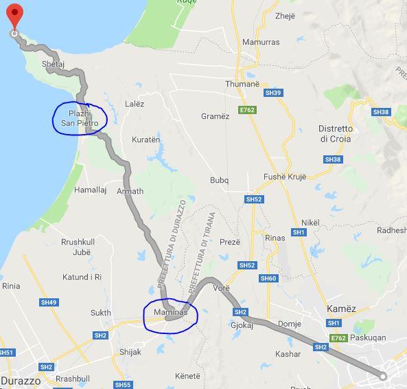 Vacanze in Albania, Itinerario: Percorso stradale per raggiungere Kepi i Rodonit da Tirana