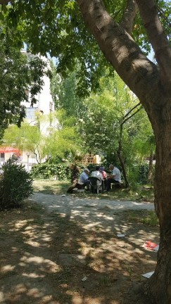 Visitare Valona, anziani che giocano a carte all'ombra