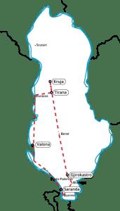 Mappa itinerario Tour Albania Natura & Cultura