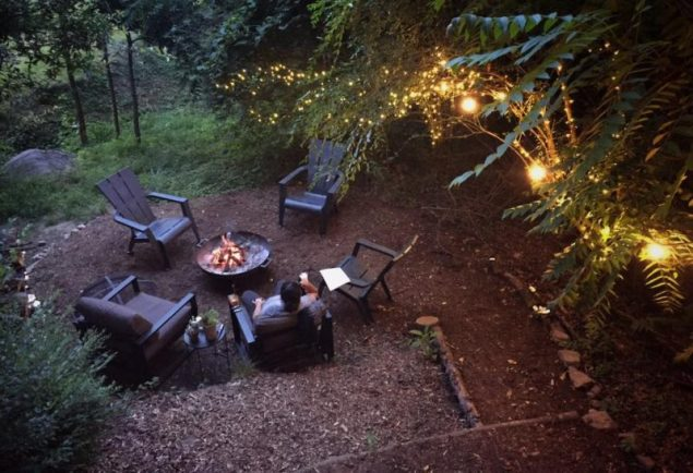 Firepit at the Dove Men+Care Treehouse