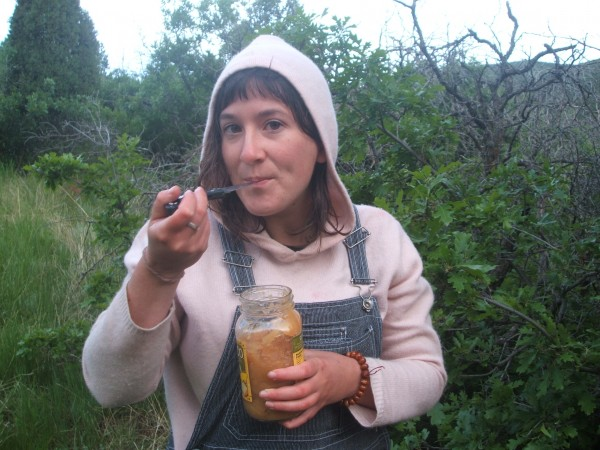 Chaya eating dumpstered food in Colorado