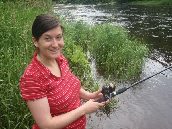 8 months pregnant - still fishing- one tough woman