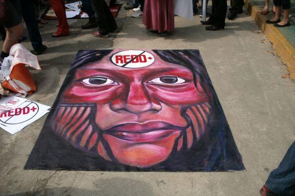 Anti-REDD+ poster at the Cumbre de Los Pueblos March for the Climate on December 10