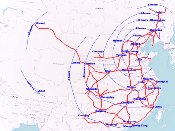 Map of China's high speed rail grid