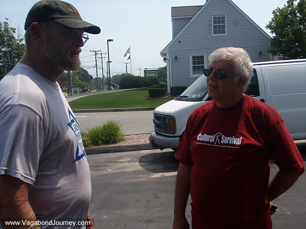 Tom Helling in Connecticut talking with a man who would come to support the Cross Walk