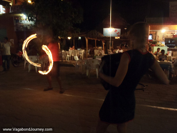 Fire dancing street performance
