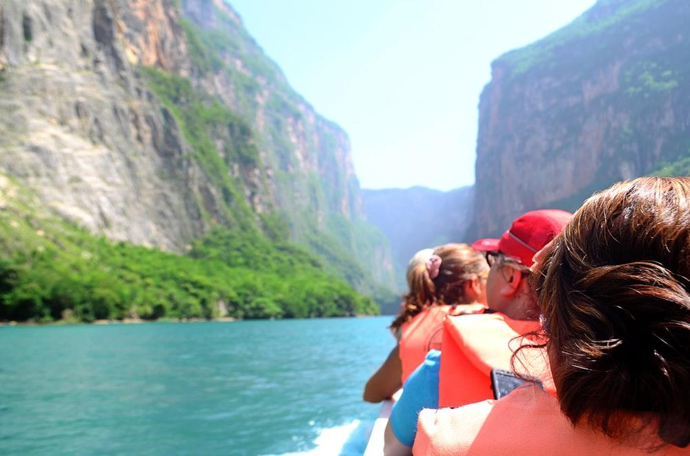 Rafting down river