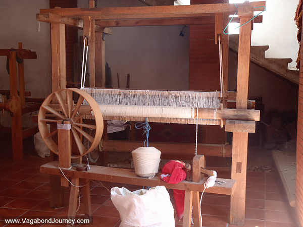 Large two harness floor loom in Mexico