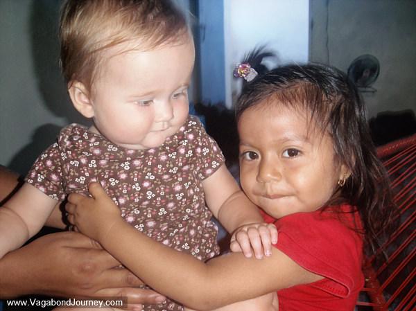 Little girl with pierced ears in Latin America