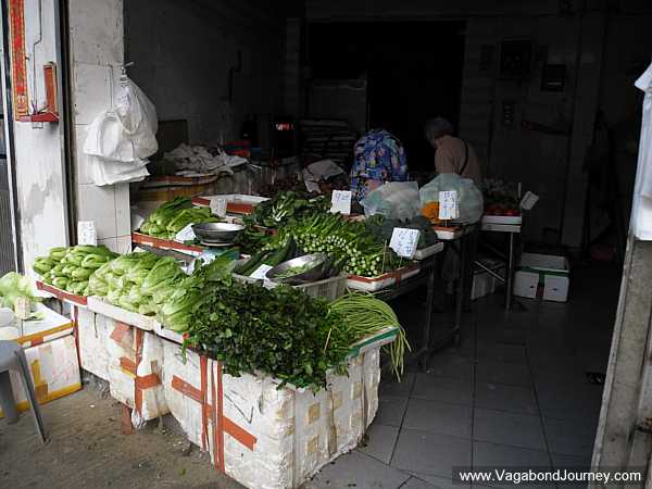 Small vegetable stand in Macau