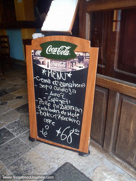 menu in Mexico