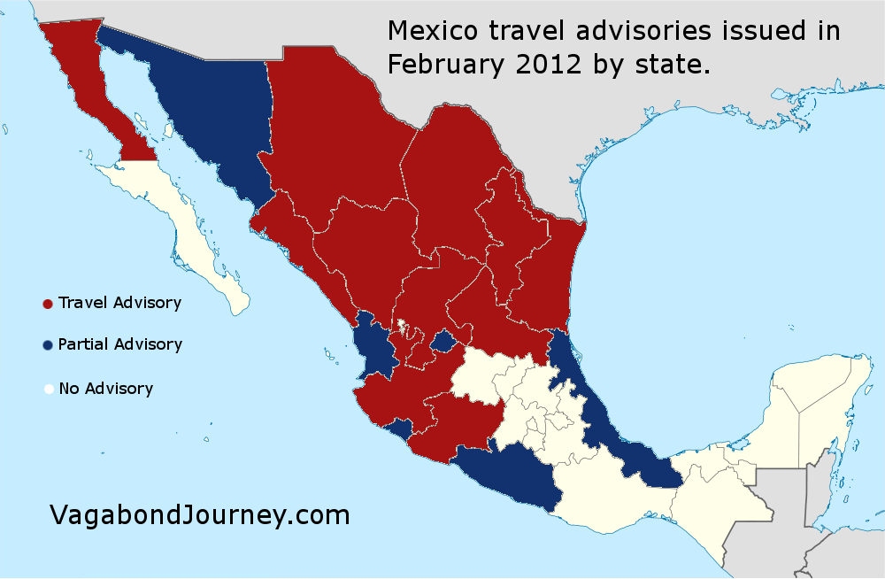 Mexico travel warnings by state this map shows the recent us department of state travel warnings for mexico by state the red are states that have total travel advisories while the blue publicscrutiny Gallery