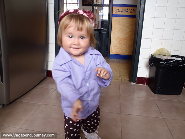 Traveling baby learns to walk