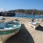 Boats on the beach of Puerto Angel